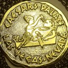 Massive Caesar And Cleopatra Gold Colored Medallion~Big Berta Prize~Free Ship