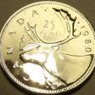 Proof Canada 1980 25 Cents~Caribou~See Why Proof Coins Are Best~Free Shipping
