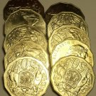 Roll (10 Coins) Of Australia Huge 50 Cent Coins~Kangaroo And Emu~Free Shipping