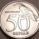 Gem Unc Indonesia 1999 50 Rupiah~Spread Eagle~Black-Naped Oriole~Free Shipping