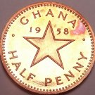 Rare Proof Ghana 1958 Half Penny~Only 20,000 Minted~Dr. Kwame Nkrumah~Free Ship