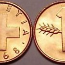 GEM BU SWITZERLAND 1968-B BRONZE COIN~FREE SHIPPING~