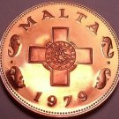 Rare Proof Malta 1979 1 Cent~1st Year~The George Cross~6,577 Minted~Free Ship