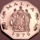 Rare Massive Cameo Proof Malta 1979 50 Cents~Great Siege~6,577 Minted~Free Ship