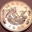 Large Rare Proof Malta 1979 10 Cents~Barge Of The Grand Master~6,577 Minted~Fr/S