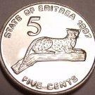 Gem Unc Eritrea 1997 5 Cents~Leopard In a Tree~Fantastic~Free Shipping