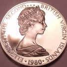 Rare Proof British Virgin Islands 1980 25 Cents~3,421 Minted~Mangrove Cuckoo~F/S