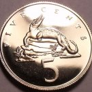Rare Proof Jamaica 1970 5 Cents~American Crocodile~Only 12,000 Minted~Free Ship