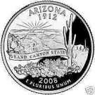2008-D ARIZONA BRILLIANT GEM UNC STATE QUARTER~FREE SHI