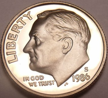 1986-S PROOF CAMEO AWESOME ROOSEVELT DIME~FREE SHIPPING