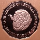 Rare Cameo Proof Australia 1991 Proof 50 Cents~25th Anniv of Decimal Currency~FS