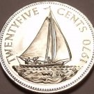 PROOF BAHAMAS 1970 25 CENTS~SAILBOAT~EXCELLENT~FREE SHI