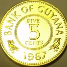 RARE PROOF GUYANA 1967 FIVE CENTS~5,100 MINTED~1ST YEAR EVER~FREE SHIPPING~