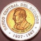 Gem Unc Bi-Metal Ecuador 1997 100 Sucres~70th Anniversary Of Central Bank~Fr/Shi