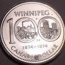 Silver Proof Canada 1974 Winnipeg Dollar~100th Annversary~Free Shipping