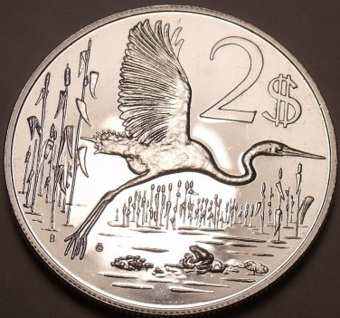 Rare Silver Proof Cayman Islands 1972 Two Dollars~Only 11,000 Minted~Free Ship