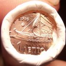 Gem Unc Original Roll (50) Greece 2005 1 Euro Cents~Ancient Athenian trireme~F/S