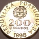 RARE HUGE BI-METAL PROOF PORTUGAL 1998 200 ESCUDOS~F/S~