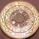 Cameo Proof Bi-Metal Great Britain 2001 2 POunds~Age Of Technology~Free Shipping