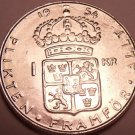 Unc Silver Sweden 1954-TS Krona~Rular Gustaf VI~Crowned Shield~Free Shipping