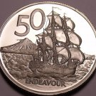 Huge Rare Cameo Proof New Zealand 1976 50 Cents~H.M.S. Endeavour~11k Minted~Fr/S