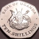 Large Gem Unc Uganda 1987 10 Shillings~7 Sided Coin~Only Year Ever Minted~Fr/Shi