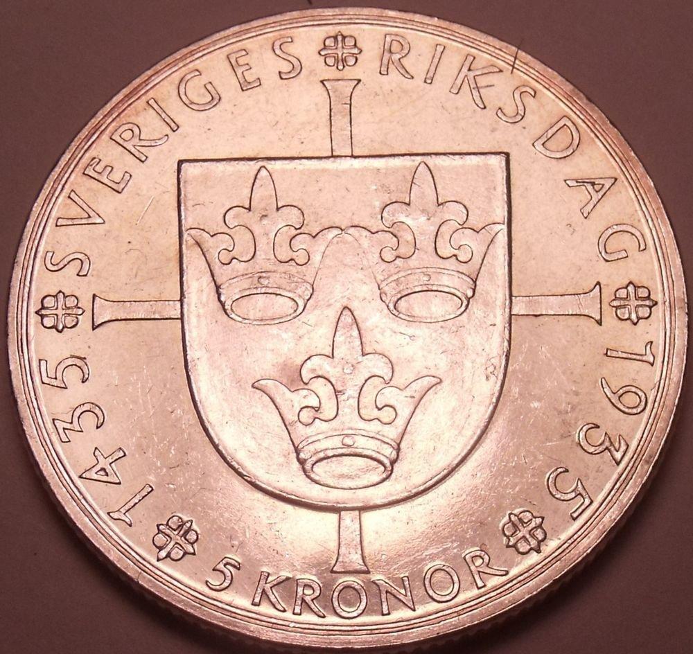 Unc Rare Silver Sweden 1935-G 5 Kronor~500th Anniversary Of Riksdag~Free Ship