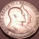 Silver Sweden 1907 2 Kronor~King Oscar II and Queen Sofia 50Th Anniv~Free Ship