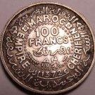Silver Morocco AH1372 (1953) 100 Francs~Fantastic~Rular Mohammed V~Free Shipping