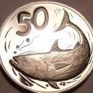 Rare Cameo Proof Cook Islands 1975 50 Cents~21,000 Minted~Bonito Fish~Free Ship