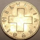 Gem Uncirculated Switzerland 1963B 2 Rappen~Cross~Free Shipping