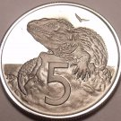 Rare Proof New Zealand 1975 5 Cents~Only 10,000 Minted~Tuatara~Excellent~Fr/Ship