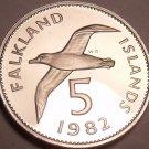Rare Proof Falkland Islands 1982 5 Pence~Blackbrowed Albatross~5k Minted~Free Sh