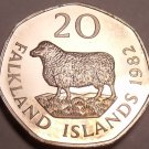 Rare Proof Falkland Islands 1982 20 Pence~Romney Marsh Sheep~5k Minted~Free Ship
