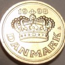 Gem Uncirculated Denmark 1998 25 Ore~Beautiful Crown~Free Shipping