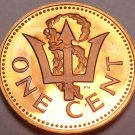 Cameo Proof Barbados 1975 Cent~Only 20,000 Minted~Trident~Free Shipping