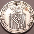 Scarce Silver Breman German States 1859 12 Grote (1/6th Thaler)~Free Shipping