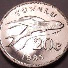 Large Rare Gem Unc Tuvalo 1985 20 Cents~Flying Fish~Fantastic~Free Shipping