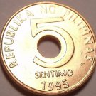 Gem Unc Philippines 1995 5 Sentimos~1st Year Ever Minted~Hole In Center~Free Shi