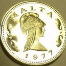 Rare Cameo Proof Malta 1977 2 Cents~Queen Of The Amazons~Only 6,884 Minted~Fr/Sh