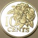 Rare Proof Trinidad & Tobago 1977 10 Cents~5,337 Minted~Hibiscus