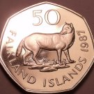Rare Proof Falkland Islands 1987 50 Pence~2,500 Minted~Falkland Island Fox~Fr/Sh