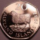 Rare Proof Falkland Islands 1987 20 Pence~2,500 Minted~Romney Marsh Sheep~Fr/Shi