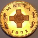 Rare Cameo Proof Malta 1972 Cent~1st Year~ The George Cross~13k Minted~Free Ship