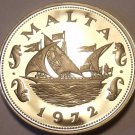 Large Rare Proof Malta 1972 10 Cents~Barge Of The Grand Master~13,000 Minted~F/S