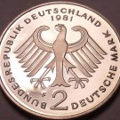 Gem Cameo Proof Germany 1981-F 2 Marks~Konrad Adenauer~91k Minted~Free Shipping