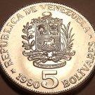 Huge Gem Uncirculated Venezuela 1990 5 Bolivares~Wow Excellent Coin~Free Ship
