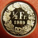 Rare Cameo Proof Switzerland 1989 Half Franc~Only 8,800 Minted~Free Shipping