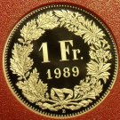 Rare Cameo Proof Switzerland 1989 Franc~Only 8,800 Minted~Fantastic~Free Ship