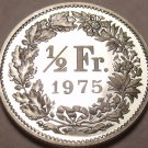 Rare Cameo Proof Switzerland 1975 Half Franc~Only 10,000 Minted~Free Shipping